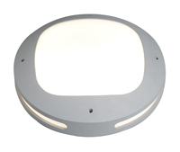 28W 2D Outdoor Bulkhead c/w lamp, 340mm Large (Satin Silver)